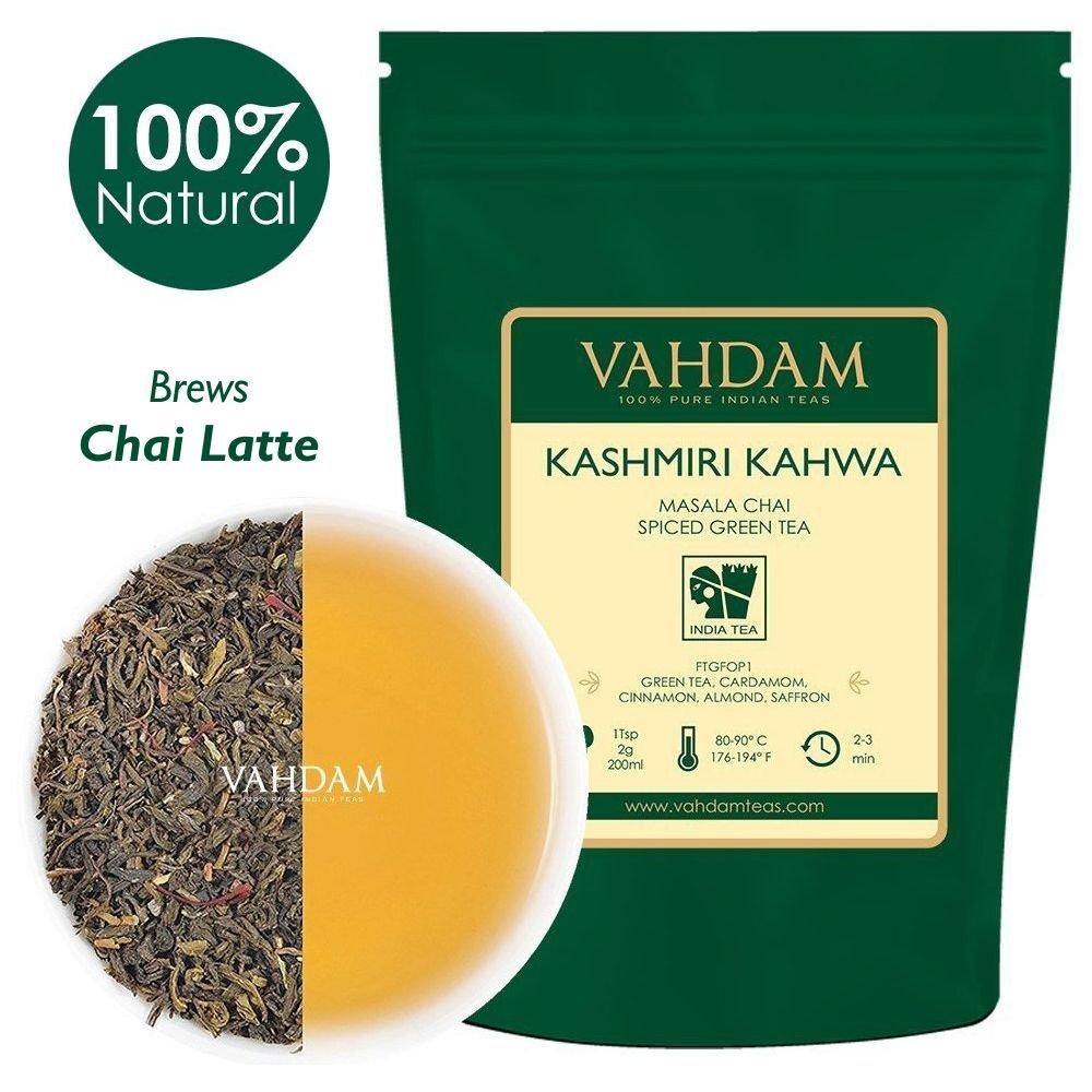 VAHDAM, Kashmiri Kahwa Tea Loose Leaf (50 Cups) | 100% NATURAL SPICES | Masala Chai Tea | Green Tea, Cinnamon, Cardamom, Almond, Saffron | Spiced Chai Tea Loose Leaf | Brew Hot or Iced Tea | 3.53oz