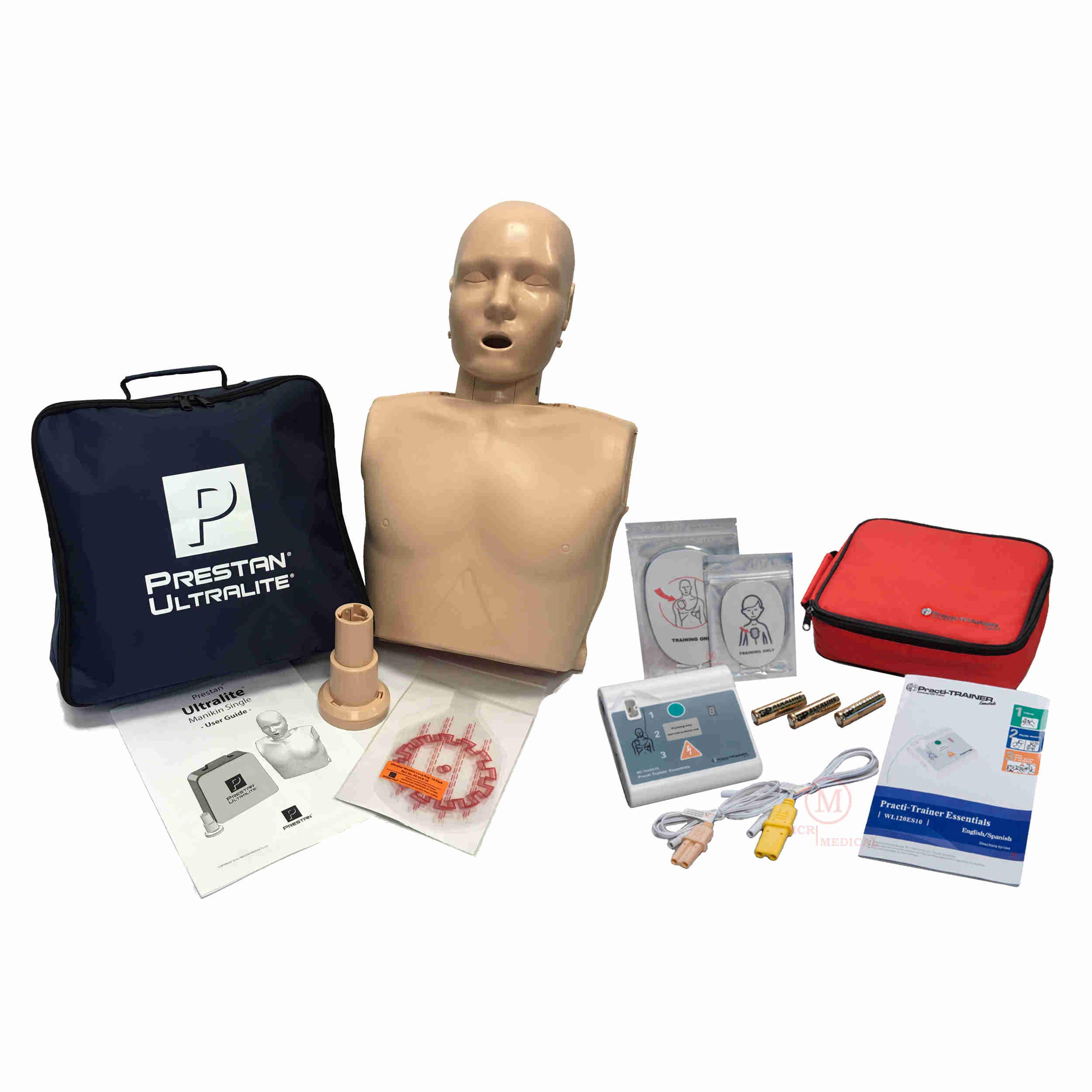 Basic CPR Training Kit w Prestan Ultralite CPR Manikin, WNL Essentials AED Trainer, MCR Accessories