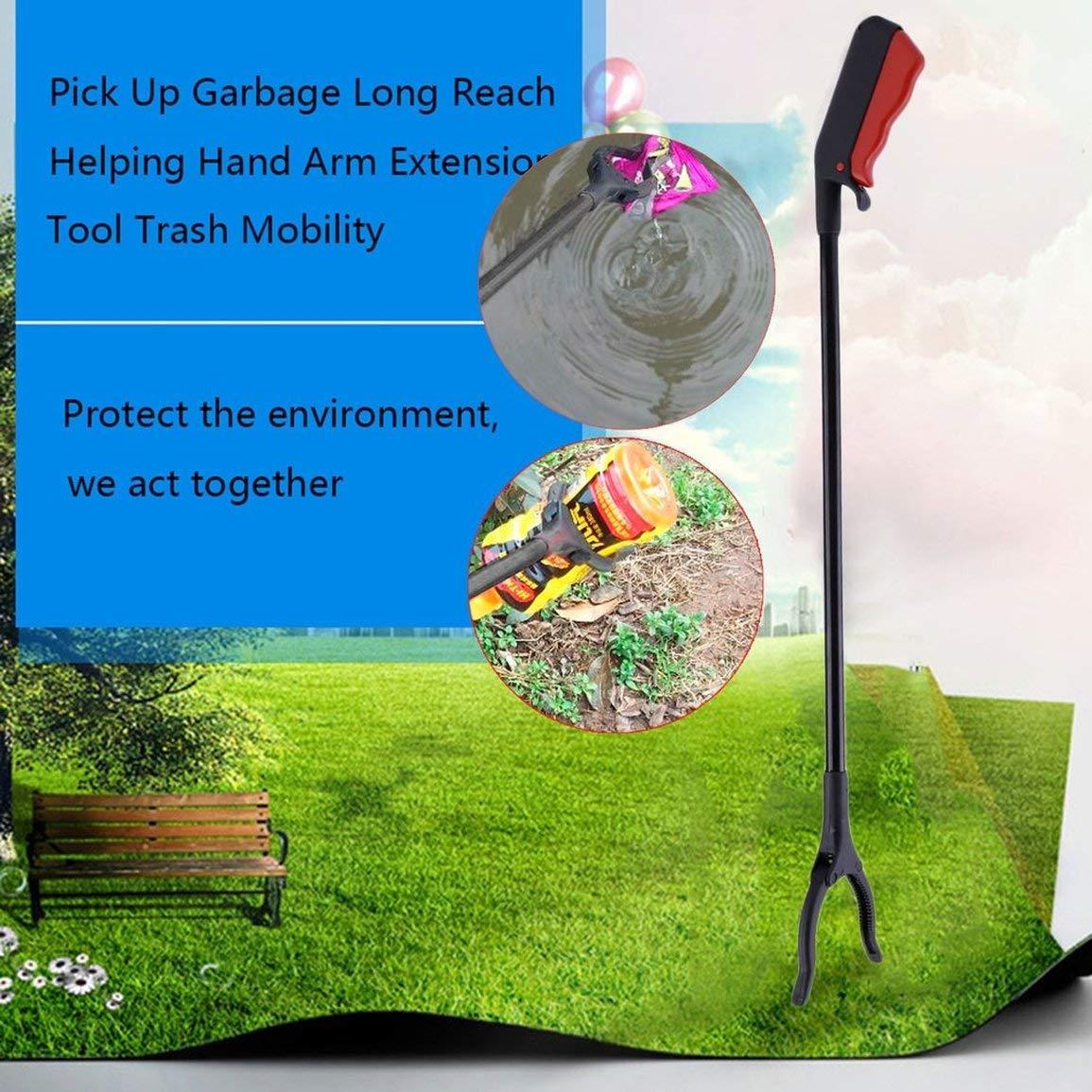 1 PC Pick Up Garbage Stick Alcance Largo Ayudante Brazo de Mano Herramienta de extensi/ón Basura Mobility Clip Grab Claw para jard/ín de su casa Color: Negro y Rojo