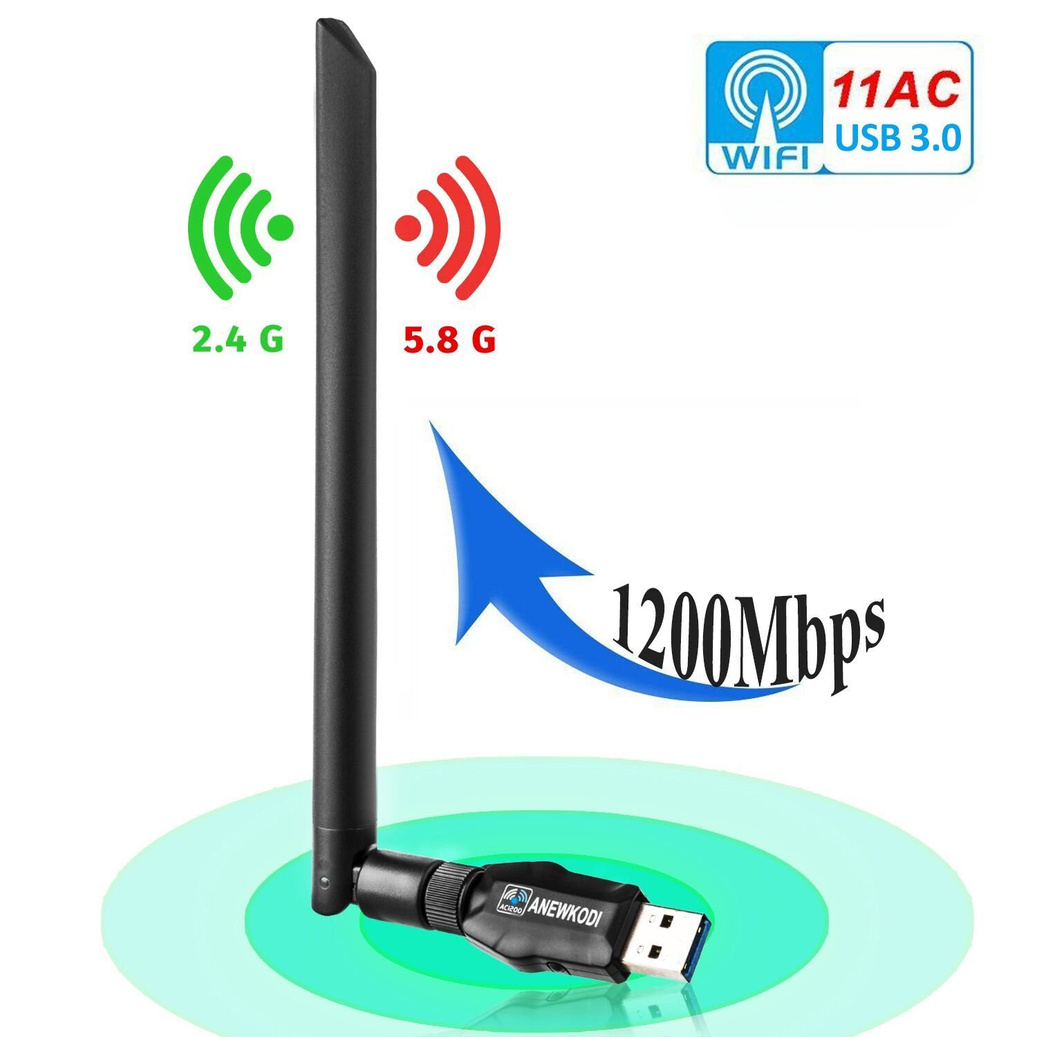 ANEWKODI 1200Mbps USB WiFi Adapter USB Wireless Adapter USB 3.0 Dual Band 2.4GHz/5.8GHz 867Mbps 802.11ac/b/g/n Wireless Adapter for Desktop/Laptop/PC, Support Windows 10/8.1/8/7/XP, Mac OS