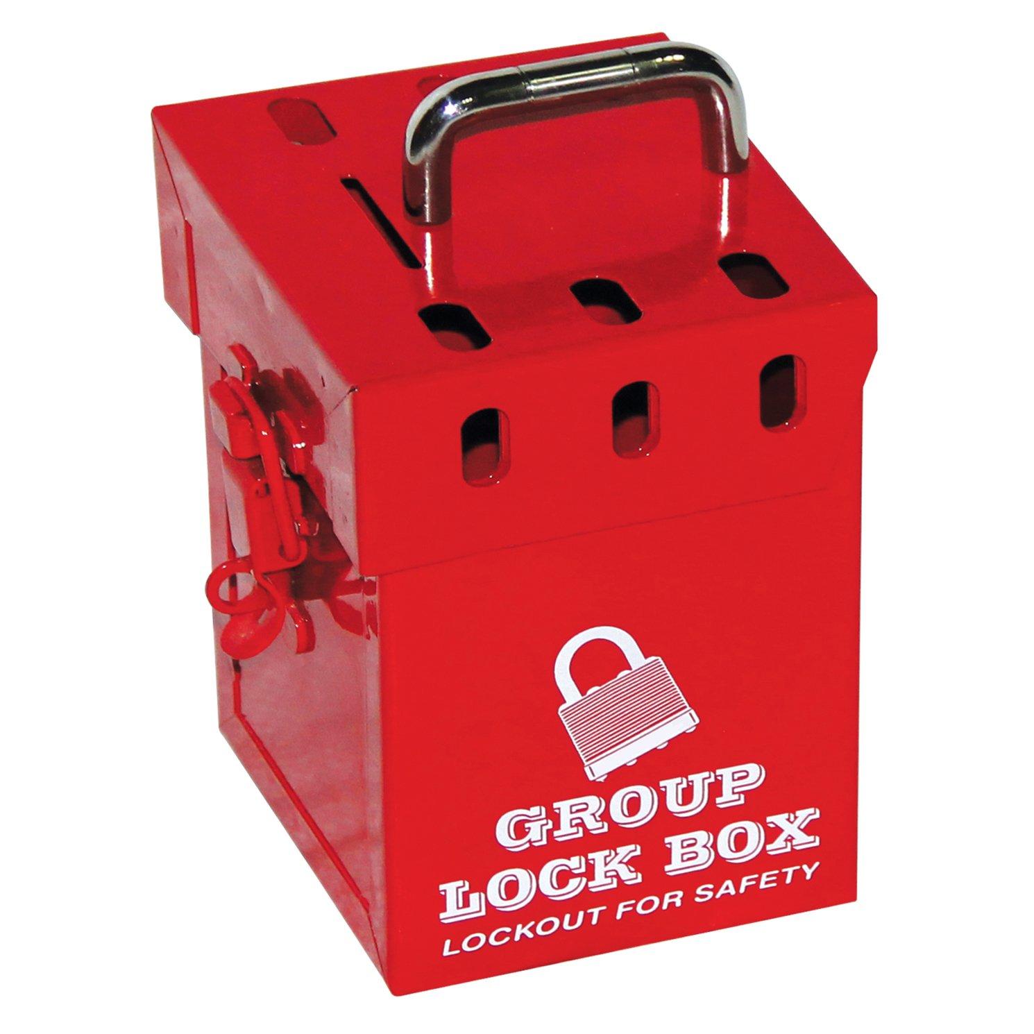 Lockout Safety Supply 7286 Mini Group Lock Box, Holds 7 Padlocks, Red
