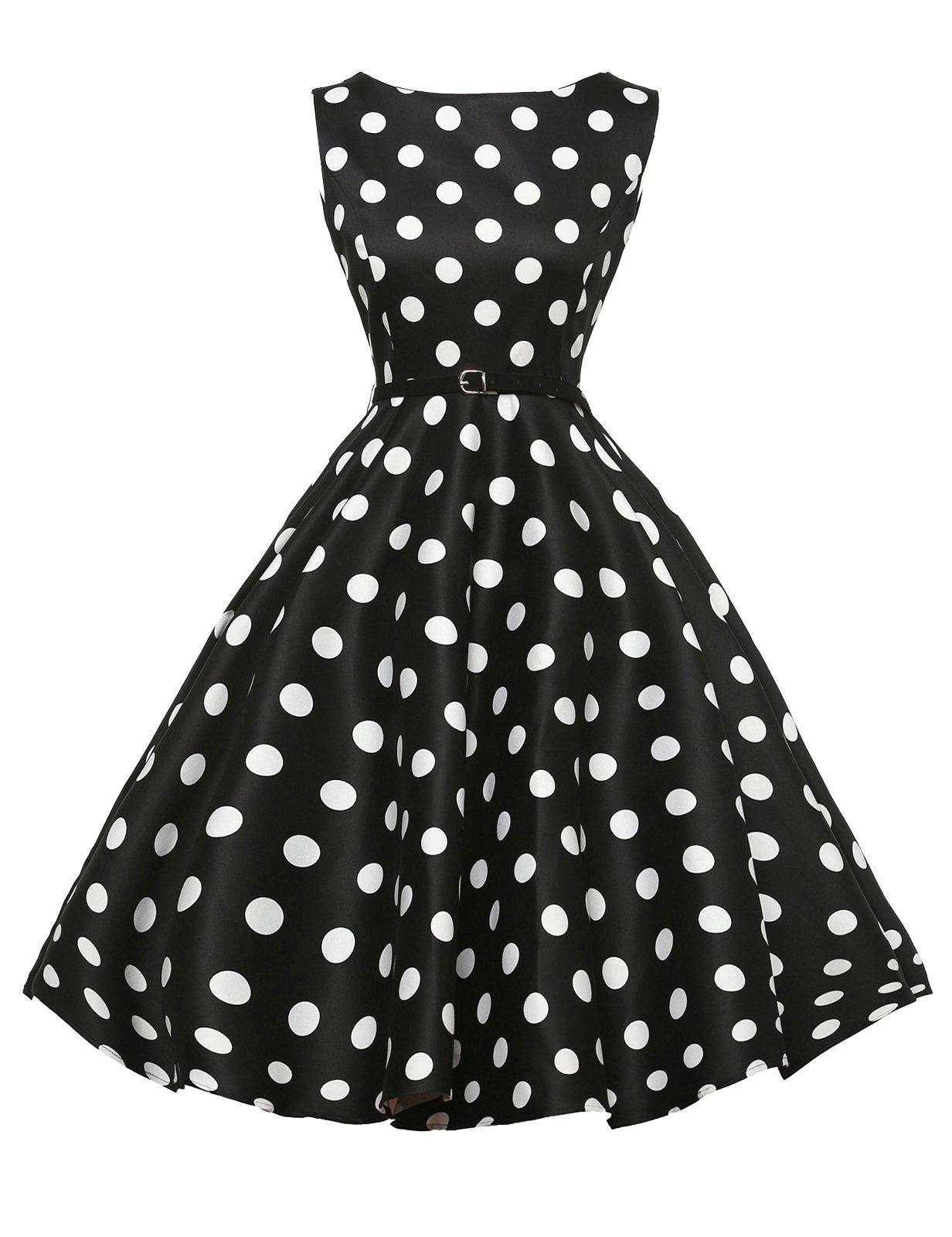 GRACE KARIN Boat Neck Retro Swing Dresses Hepburn Style Black Size L F-8