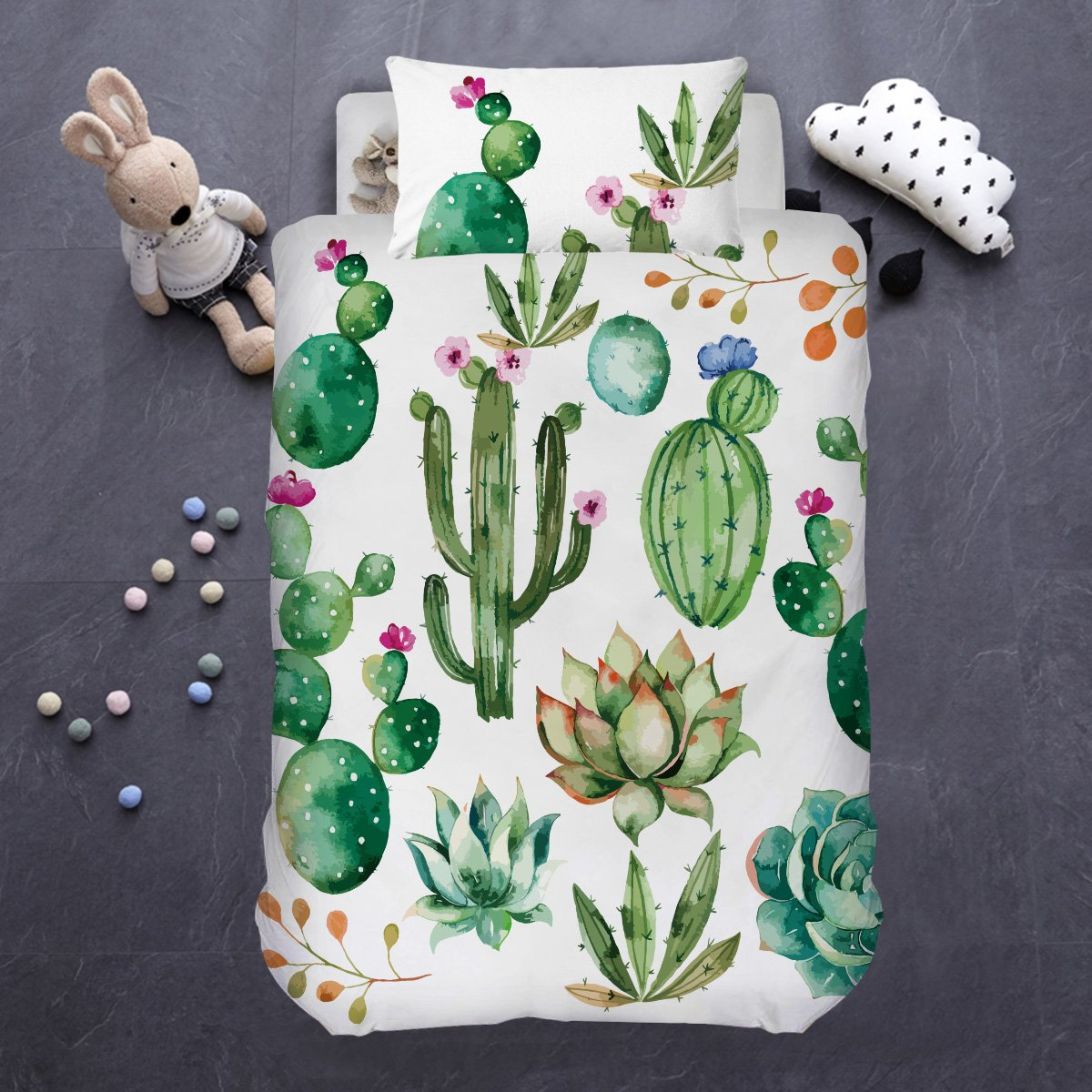 ARIGHTEX Bright Cactus Bedding Green Plant Bedspread Botanical Natural Duvet Cover 2 Piece College Dorm Comforter Cover Set (Single)