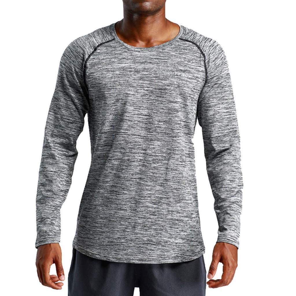 Pervobs Men's Stretchy Long Sleeve Fitness Training T-Shirt Outdoor Sports Blouse Top(M, Dark Gray)
