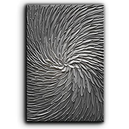 Remarkable Yasheng Art 3D Abstract Art Oil Paintings On Canvas Texture Silver Gray Color Abstract Artwork Modern Home Decor Canvas Wall Art Ready To Hang For Home Interior And Landscaping Staixmapetitesourisinfo