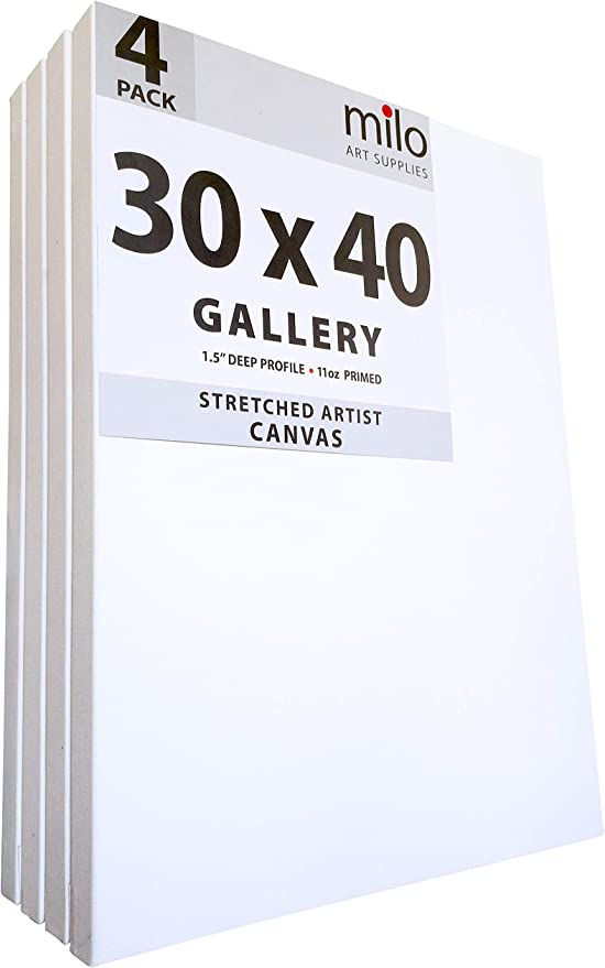 4 PREMIUM DEEP EDGE STRETCHED BLANK CANVASES 30x40 cm ~12x16 in canvas on stretcher bars
