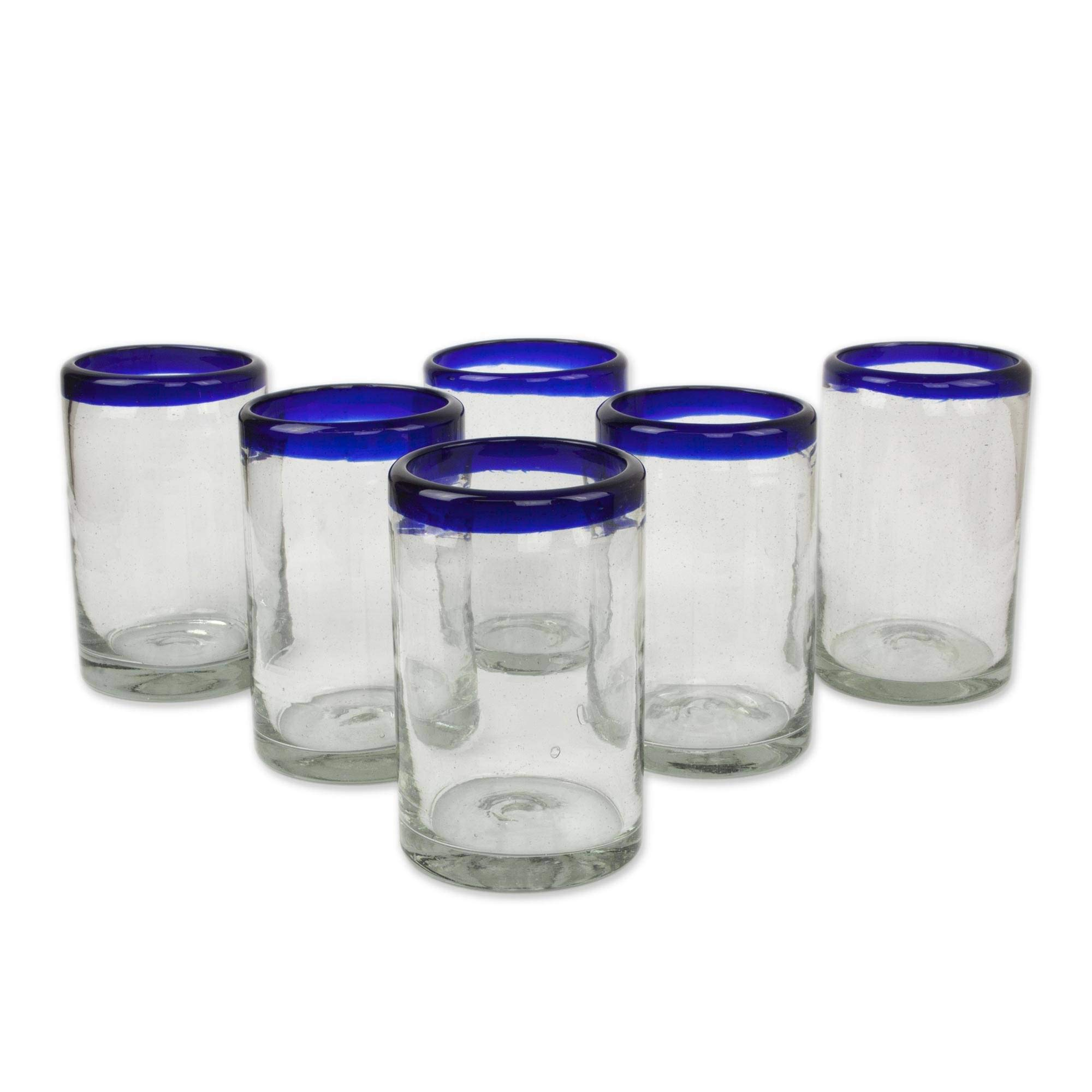 NOVICA Artisan Crafted Hand Blown Clear Blue Rim Recycled Glass Juice Glasses, 14 oz. 'Classic' (set of 6) by NOVICA