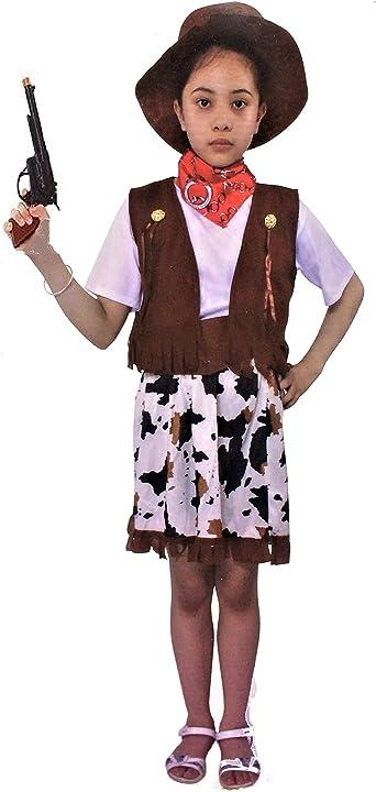 LBA Disfraz de Vaquera. Incluye: Camiseta, Falda, Chaleco, Pañuelo ...