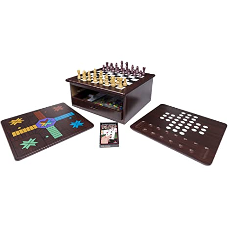 Amazon Com 12 In 1 Wood Game Center Toys Games