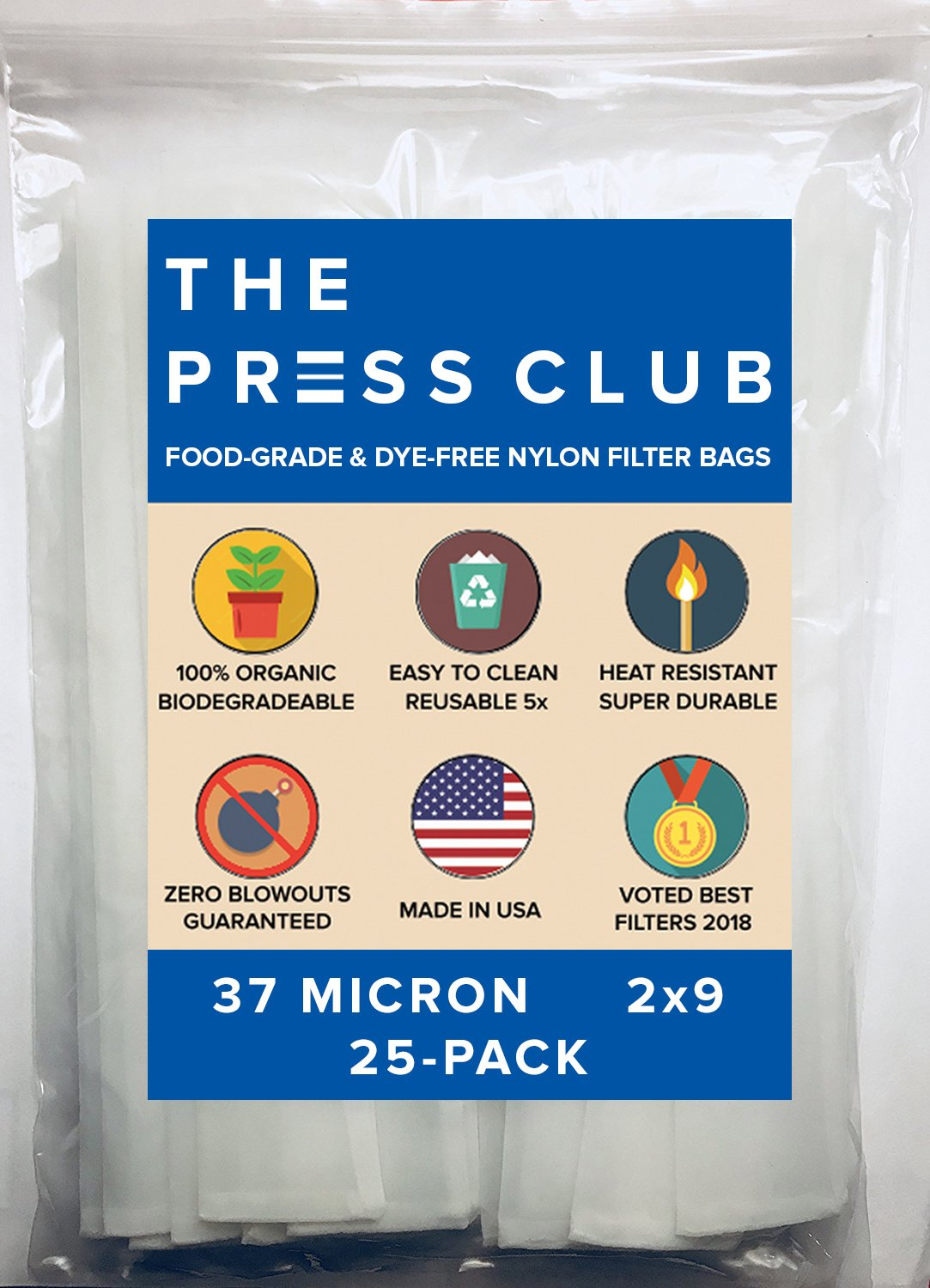 37 Micron | Premium Nylon Tea Filter Press Screen Bags | 2'' x 9'' | 25 Pack | Zero Blowout Guarantee | All Micron & Sizes Available by The Press Club