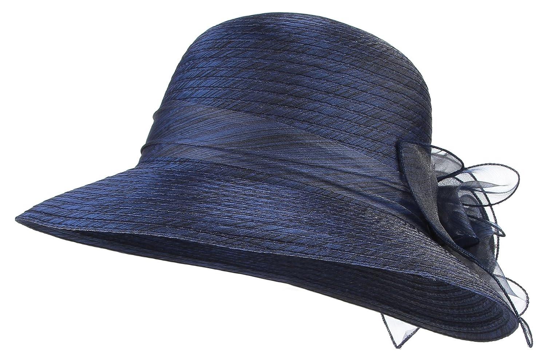 Gemvie Womens Summer Organza Hat Flower Sun Hat Derby Tea Party