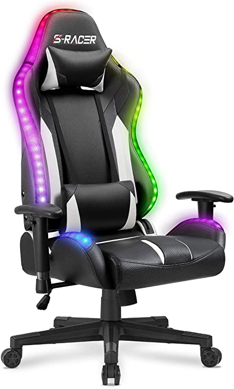 Amazon Com Homall Gaming Chair Rgb Lighting High Back Computer Chair Pu Leather Desk Chair Pc Racing Led Ergonomic Adjustable Swivel Task Chair With Headrest And Lumbar Support Black Furniture Decor