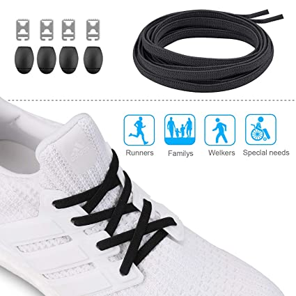 a819e552e248 Amazon.com  HAZER 2 Pairs No Tie Shoelaces Comfortable Elastic Shoe Laces  for Sneakers - Easily Installed Running Shoelaces for Kids and Adults   Sports   ...