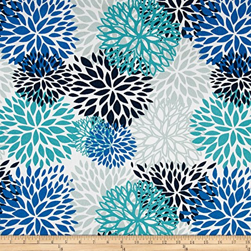 Premier Prints Indoor/Outdoor Blooms Fabric by The Yard, Blue Vista