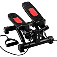 ENKEEO Mini Stepper per Allenamento, Home Trainer, Attrezzi Fitness per Tutto Il Corpo, Display Digitale con Tempo Calorie e Passi, Massaggi Pedali,Telaio in Acciaio, capacità:120kg