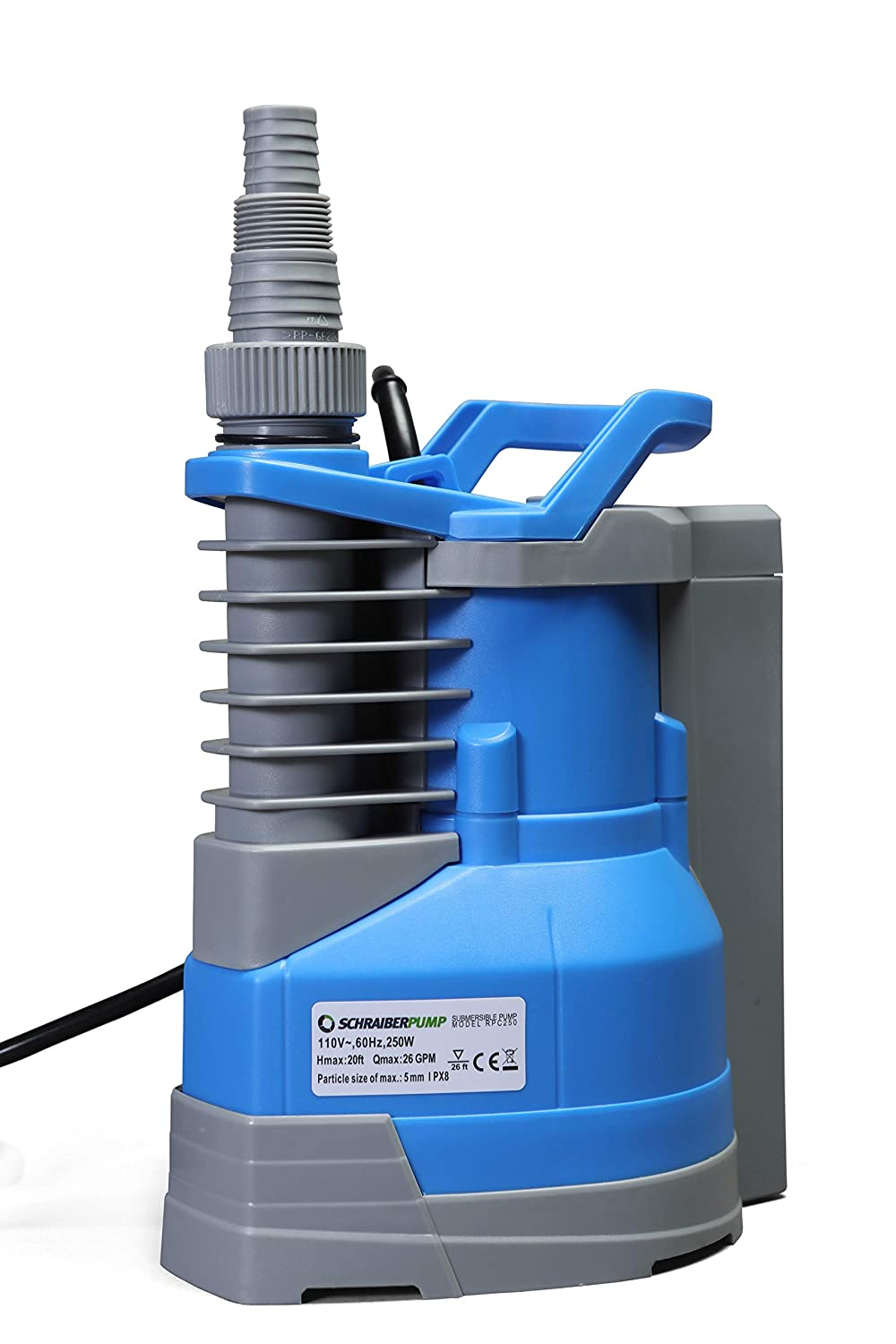 Submersible Clean Water Sump Pump 1/3hp with built in automatic ON/OFF (with adjustable start heights) 1560GPH, 20'Head, Thermal Protector, Copper Winding - Schraiberpump