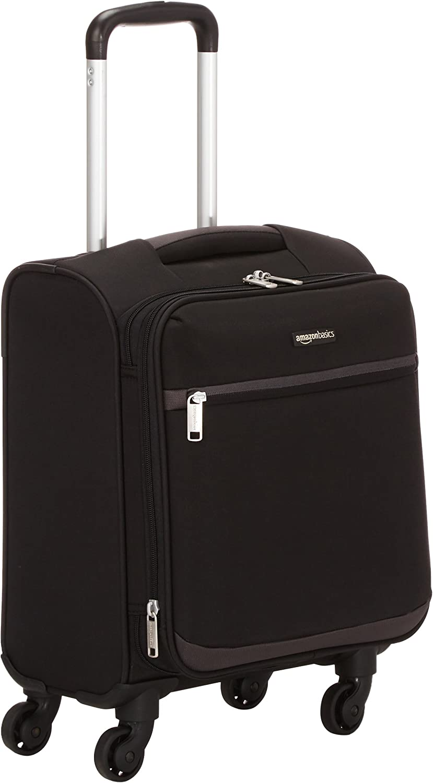 Amazon Basics - Maleta blanda con ruedas giratorias, 47 cm, para equipaje de mano, Negro