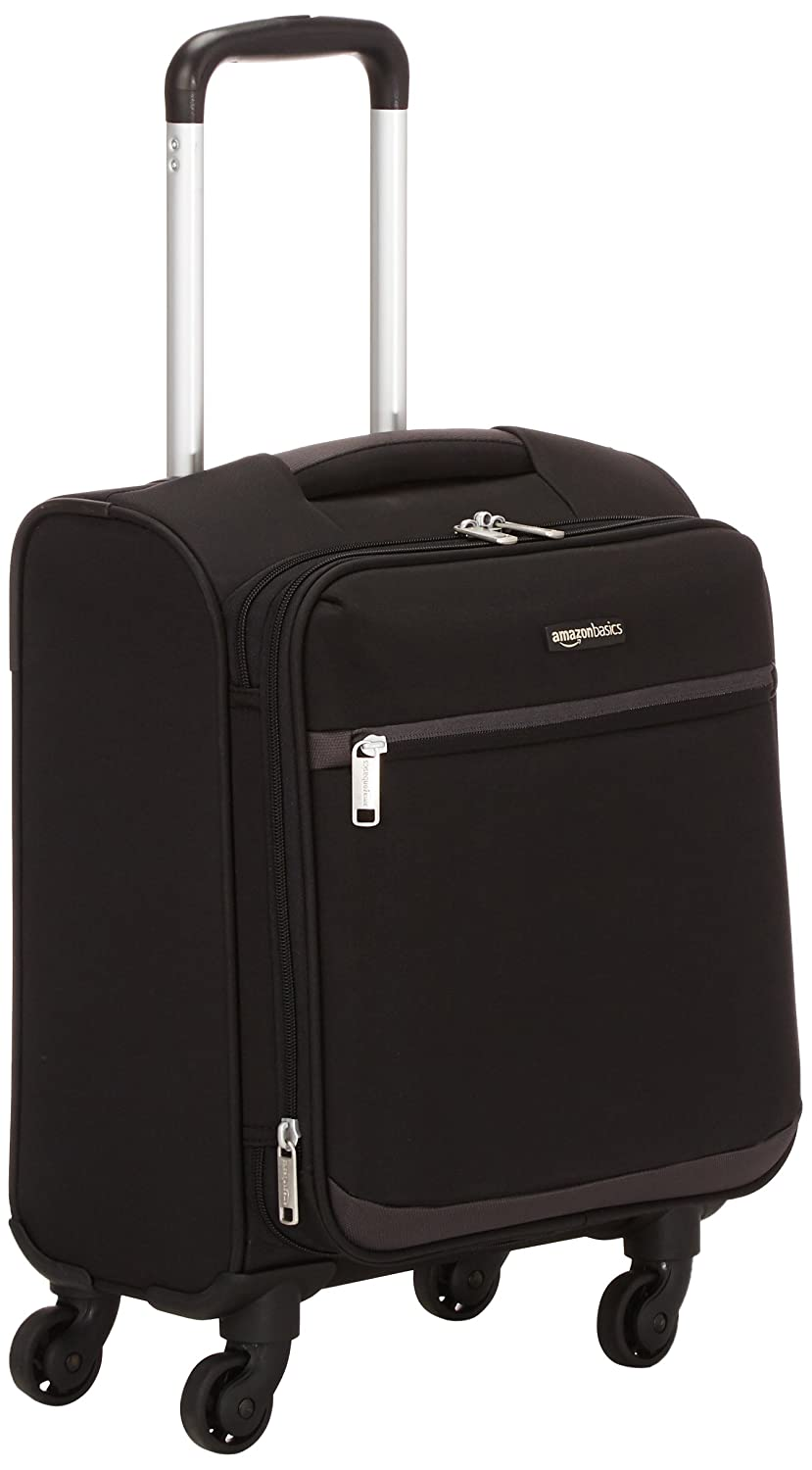 AmazonBasics Softside Spinner Luggage, 18-inch Carry-on/Cabin Size, Black