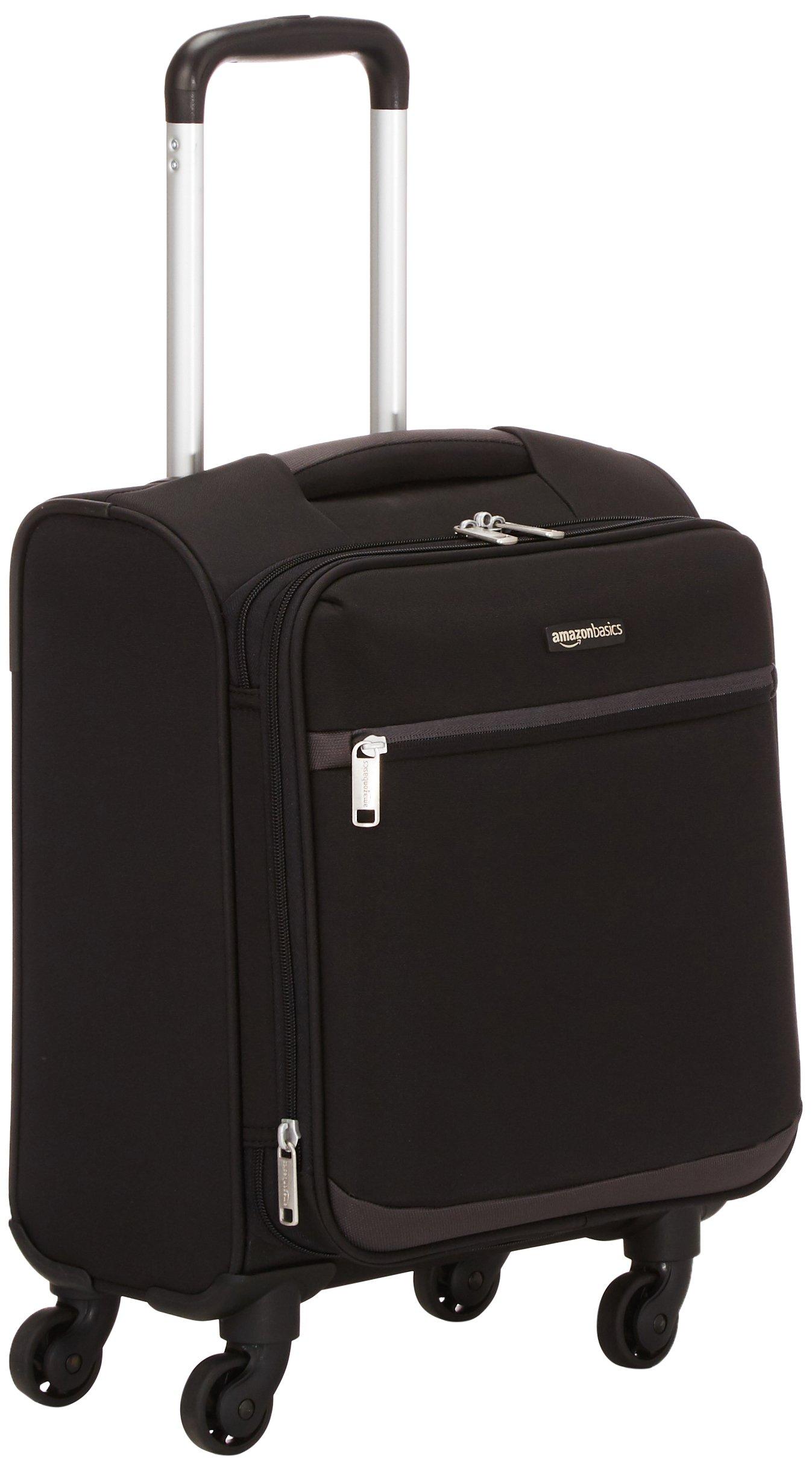 AmazonBasics Softside Spinner Luggage, 18-inch Carry-on/Cabin Size, Black