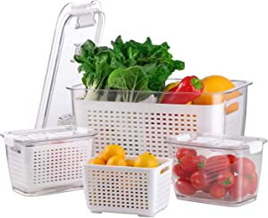 BELIBUY Fresh Produce Vegetable Fruit Storage Containers - 3Piece Set Fridge Storage Containers Draining Crisper with Strainers Used in storing Fruits Vegetables Meat Fresh Fish