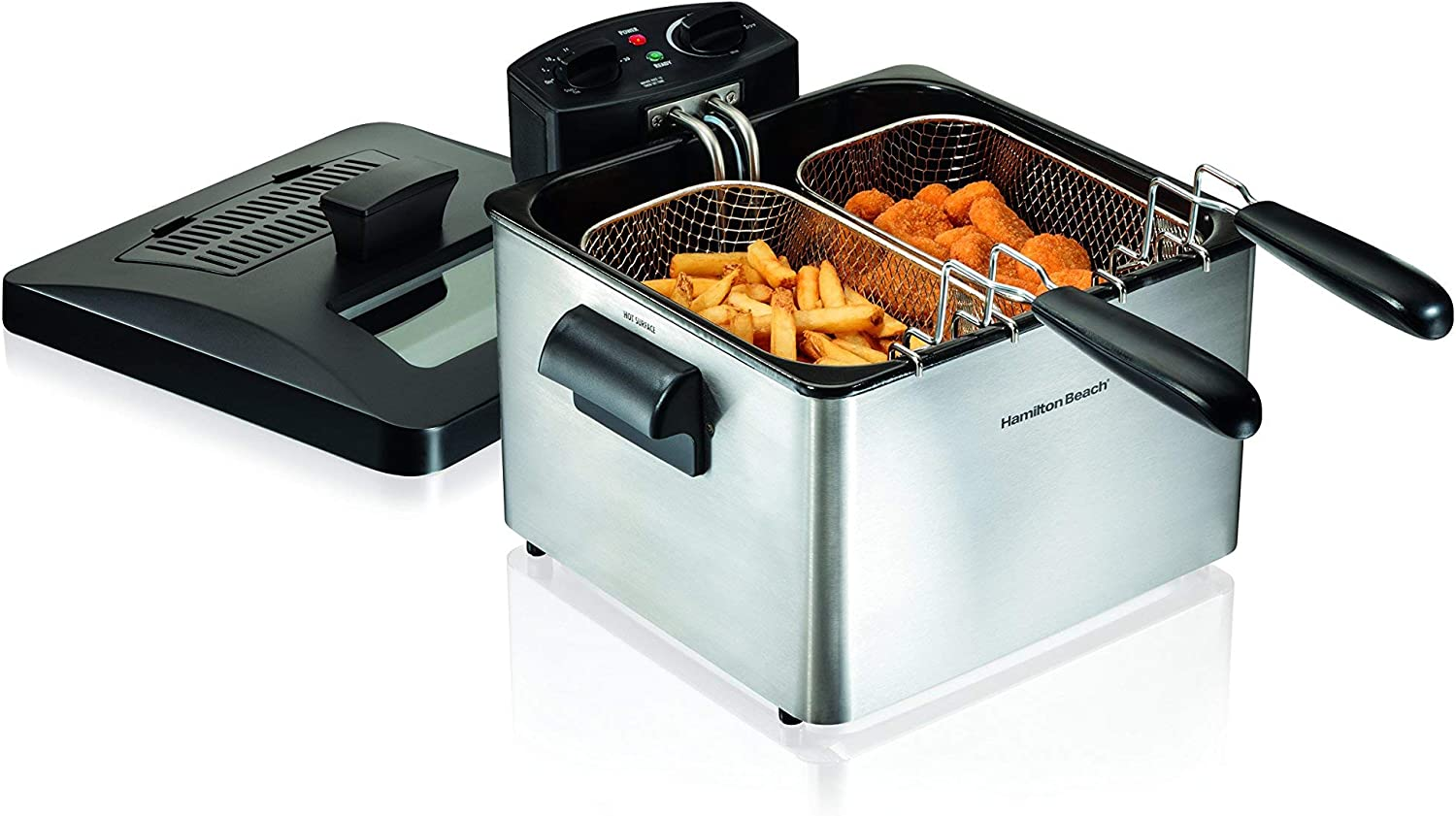 Hamilton Beach 35036 Double Basket Electric Deep Fryer Professional-Style, 12 Cup Food Capacity, 4.5 Liters and 1800 Watts, Stainless Steel (Renewed)
