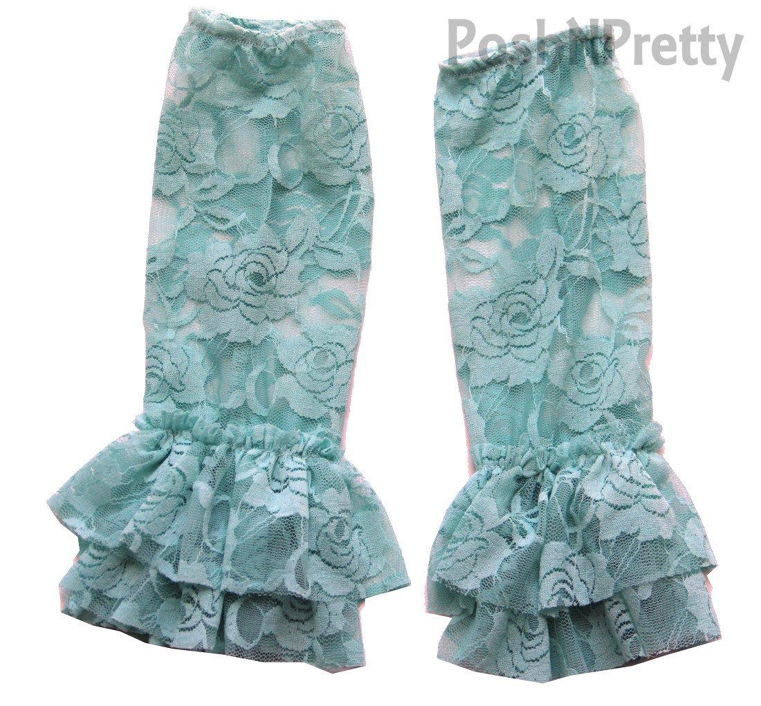 Mint Aqua Floral Lace FRILL Legwarmers One Size