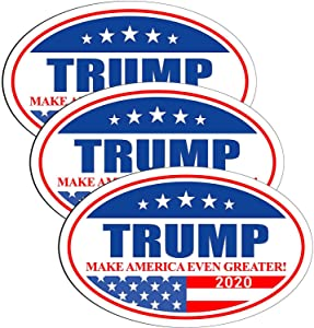 AODA 3Pcs Trump Stickers and Decals 2020, Trump Magnetic Bumper Sticker 2020, Donald Trump Sticker, Oval Shaped Trump Car Magnets, Trump 2020 Car Stickers, Trump Bumper Sticker for Laptop Truck