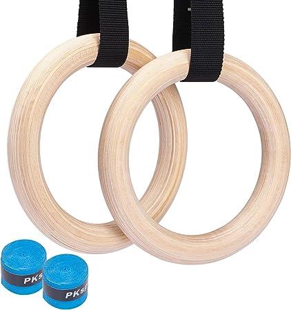 Juego de anillos de madera olímpica para gimnasia y fitness, juego de anillos de madera para gimnasia atlética antideslizante, para dominadas ...