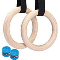 Suny Smiling Wooden Gymnastic Rings 1500lbs Calisthenics Equipment with 15ft Heavy Duty Straps,Non-Slip Training Rings…