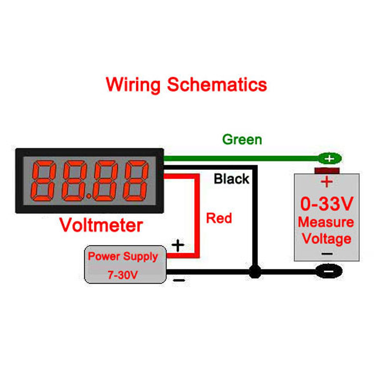 Wiring Voltmeter In Car Ask Answer Diagram Digital Amazon Com Drok 0 56 4 Digits Dc 33v Led 12v Rh Stewart Warner Cs130 To
