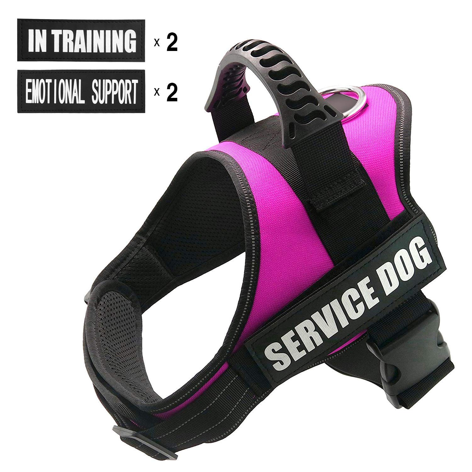 FAYOGOO Dog Vest Harness for Service Dogs, Comfortable Padded Dog Training Vest with Reflective Patches and Handle for Large Medium Small Dogs (Medium: Chest 24-32'' Neck 20-26'', Pink)