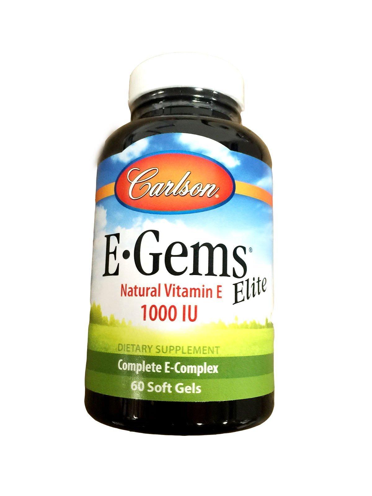 Carlson Labs E-Gems Natural Vitamin E Elite, 1000 IU, 60 Softgels