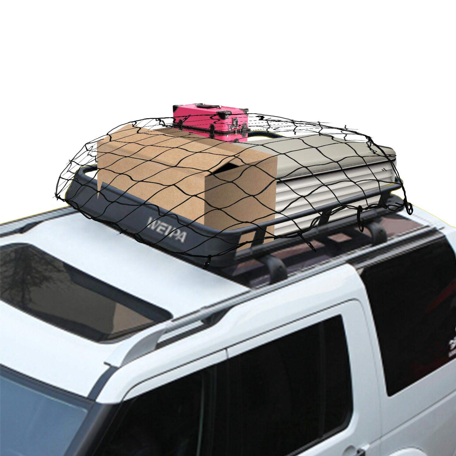 4mm Cord DogXiong 3x4 to 6x8 Pickup Cargo Net with 12 Nylon Hooks for Pickup Truck Bed and SUV Rooftop Travel Luggage Rack et 3.2 x 3.2 Tight Mesh