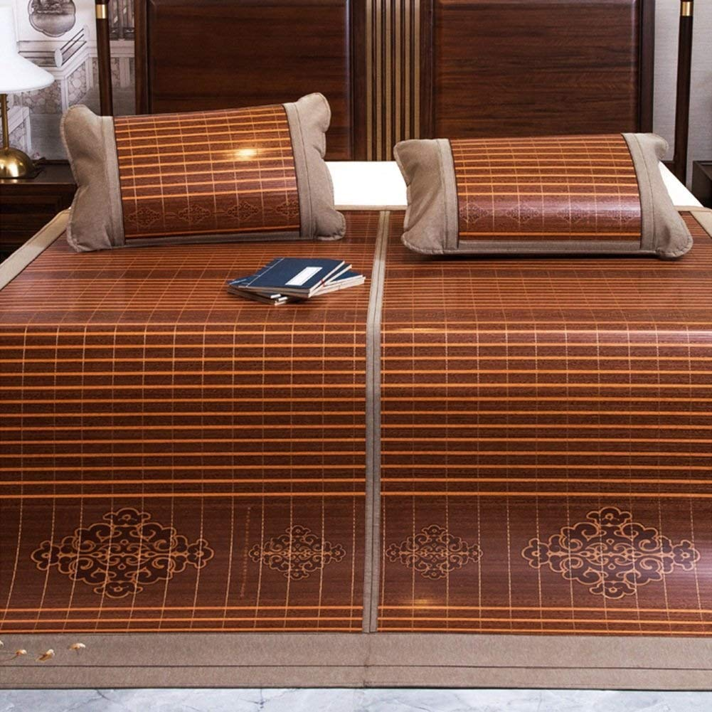 QNJM Faltende Sommermatte, Dreiteiliges Doppelbett Bambusmatte, Neue Holzmaserung Carbonized Doppelseitige Bambusmatte (Farbe   A, größe   180x2220cm) B 120x190cm