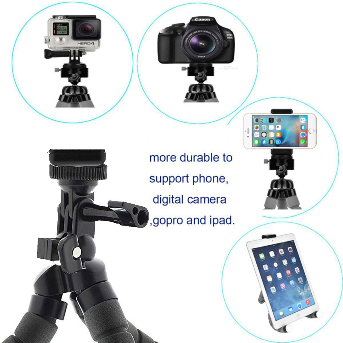 Phone Tripod, Anconic flexible cell phone Tripod with Remote for Iphone& Android Phone, Camera, and Gopro[UPGRADED] by ZANCONIC (Image #6)
