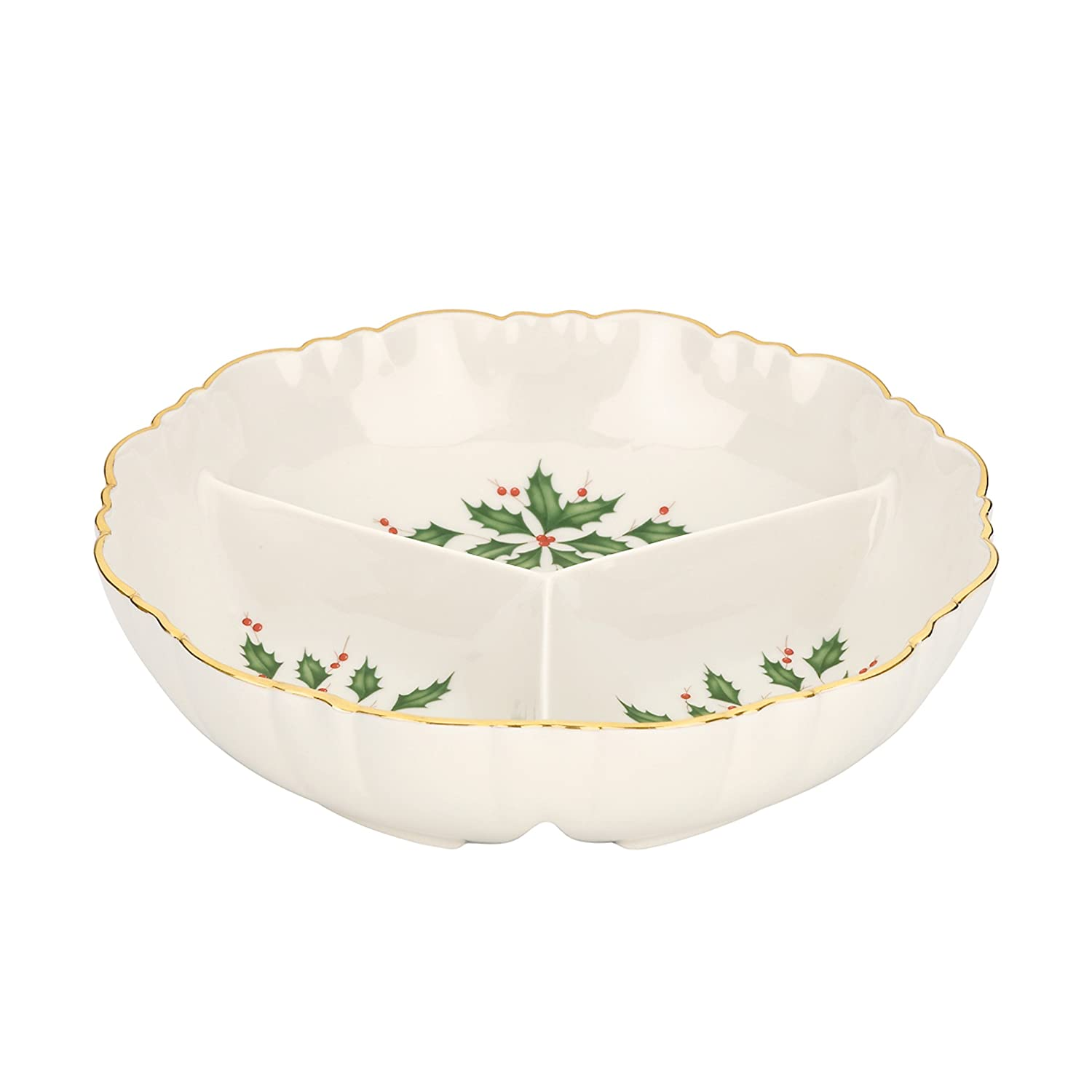 Christmas Holly Divided Serving Dishes