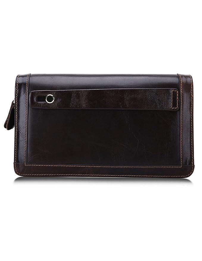 3b6ee1c432 Kronen Soehne vera pelle portafoglio lungo per uomo organizer libretto  degli assegni cartoncino doppia cerniera borsetta KWA012: Amazon.it:  Abbigliamento