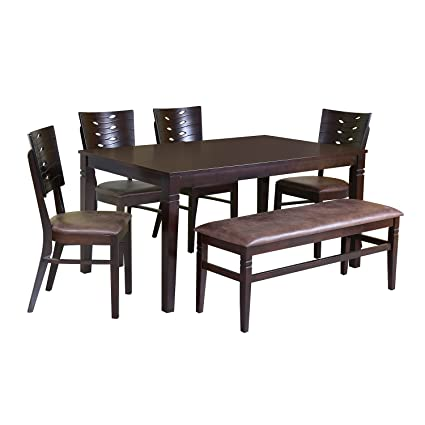 Home By Nilkamal Fern 6 Seater Dining Table Set Erin Brown Amazon