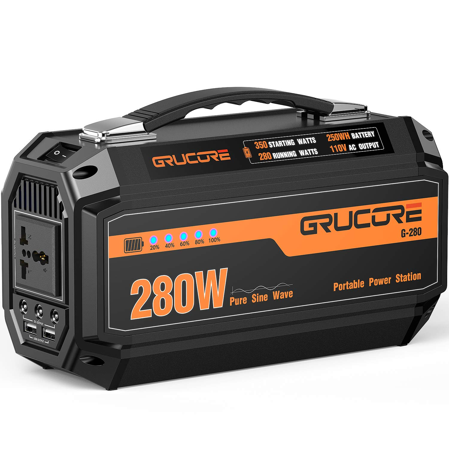 GRUCORE 280W Portable Power Station Generator, 250Wh CPAP Backup Battery, 110V Pure Sinewave AC Outlet, Solar Generator for Outdoors Camping Travel Fishing Hunting Emergency