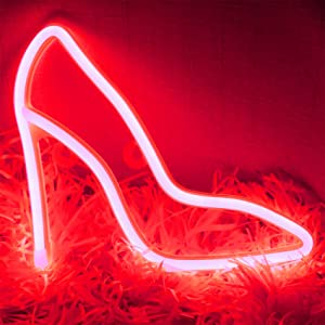 YAOZHOU LED Neon Signs High Heel Lights Red Led Wall Decor, Battery or USB Operated Neon Signs Lamp Light up for Home,Kids Room,Bar,Festive Party,Christmas,Wedding(Red)
