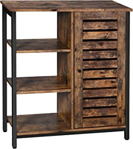 VASAGLE Industrial Storage Cabinet, Bathroom Floor Standing Cabinet, Utility Storage Shelf, Living Room, Bedroom, Hallway, Kitchen, Rustic Brown ULSC74BX