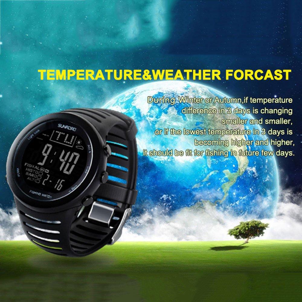Forfar Beautyrain Armbanduhr Angeln Barometer Multi Funktions Digital Werkzeug Altimeter Uhren Thermometer Alarm Glasspiegel