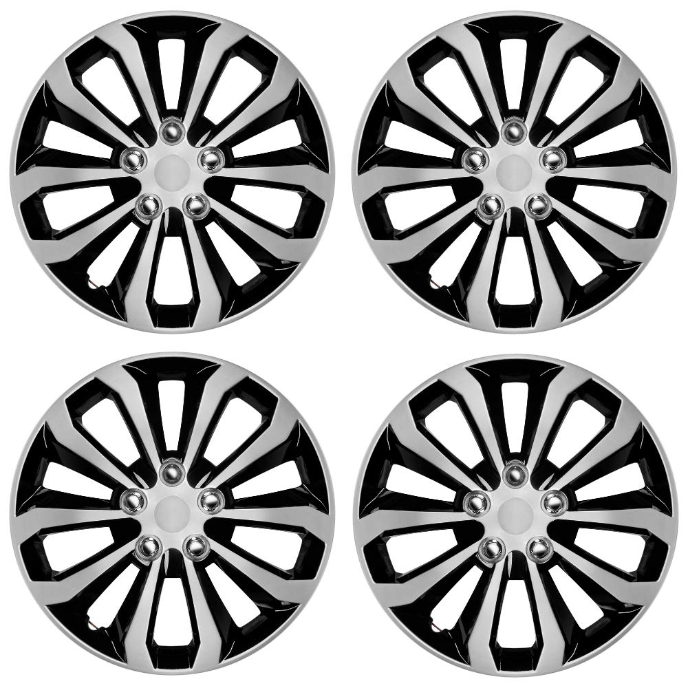 """CarXS Two-Tone Style Hubcaps 16"""" Wheel Covers, Black & Silver Model Cover, Four (4) Pieces Corrosion-Free & Sturdy Full Heat & Impact Resistant Grade, 4 Piece Set"""