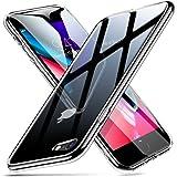 ESR Funda iPhone 8/7, Funda Cristal Templado [Imita la Parte Posterior del Vidrio del iPhone 8/7] [Resistente a los Arañazos] + Borde de Silicona Suave [Amortiguación] para iPhone 8/7 -Transparente