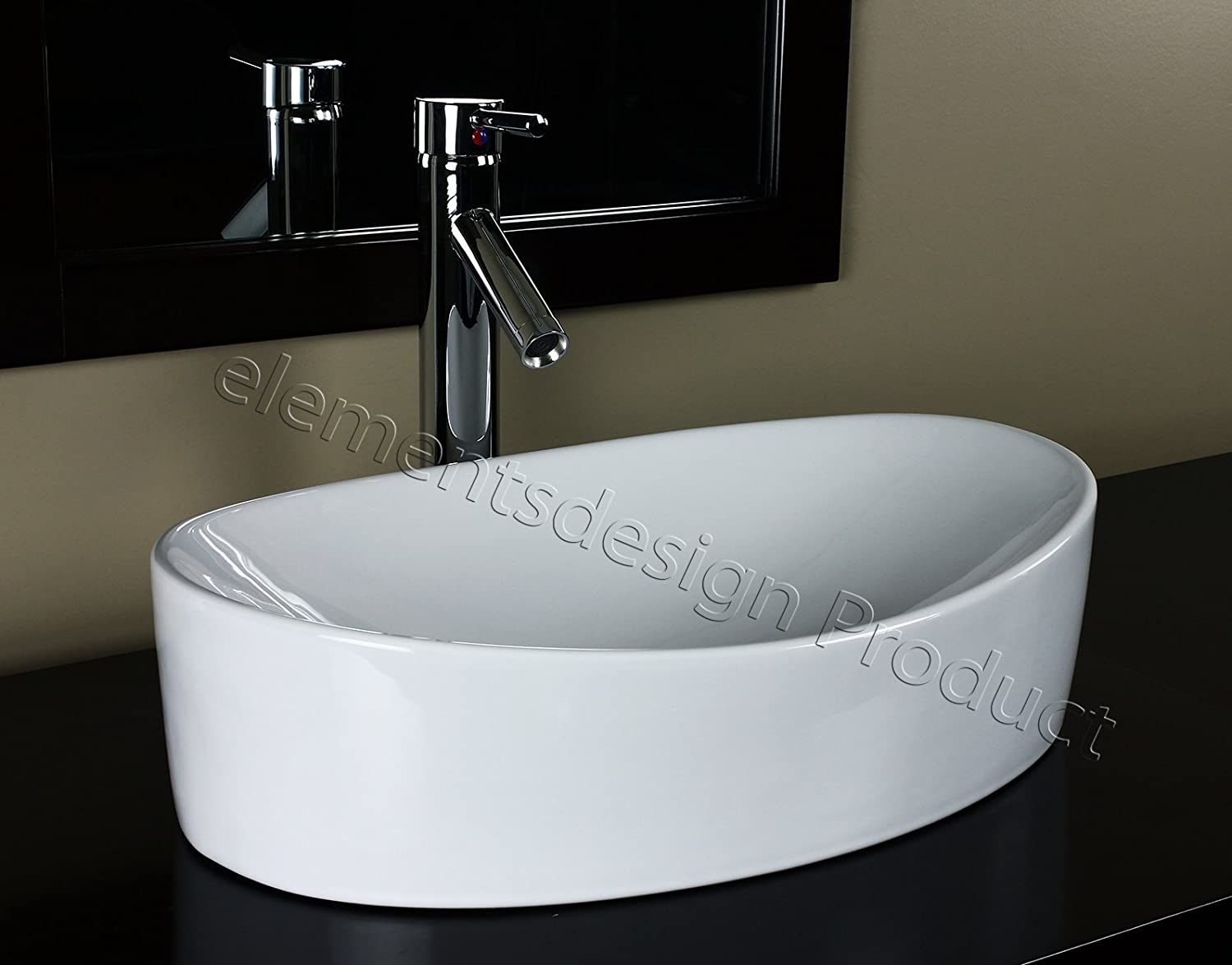 Bathroom Ceramic Vessel Sink 7756CD1 With Chrome Faucet Drain