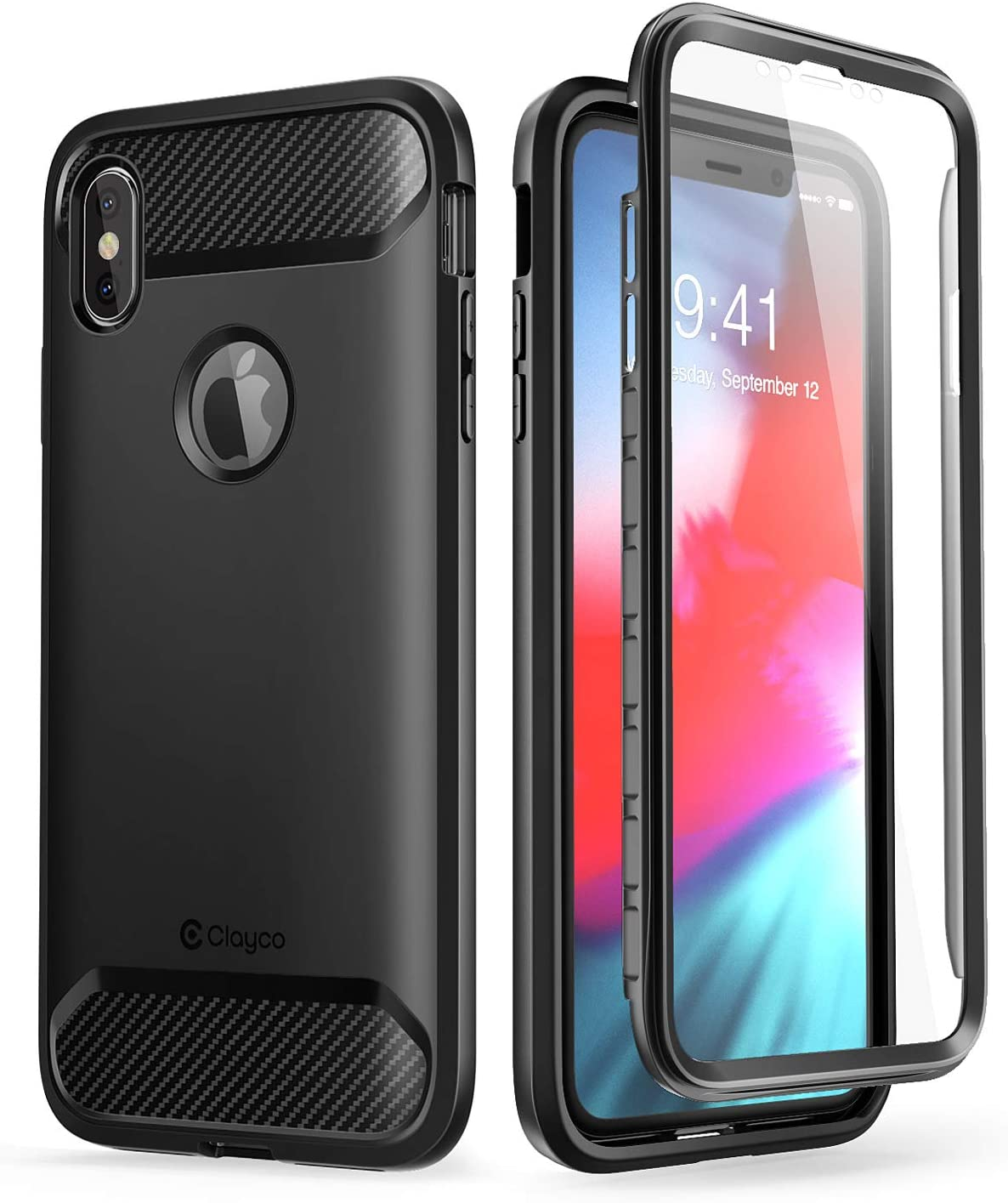 Amazon Com Iphone Xs Max Case Clayco Xenon Series Full Body Rugged Case With Built In Screen Protector For Apple Iphone Xs Max 6 5 Inch 2018 Black