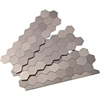 Aspect Peel and Stick Backsplash 11in x 4in Honeycomb Stainless Matted Metal Tile for Kitchen and Bathrooms (3-Pack)