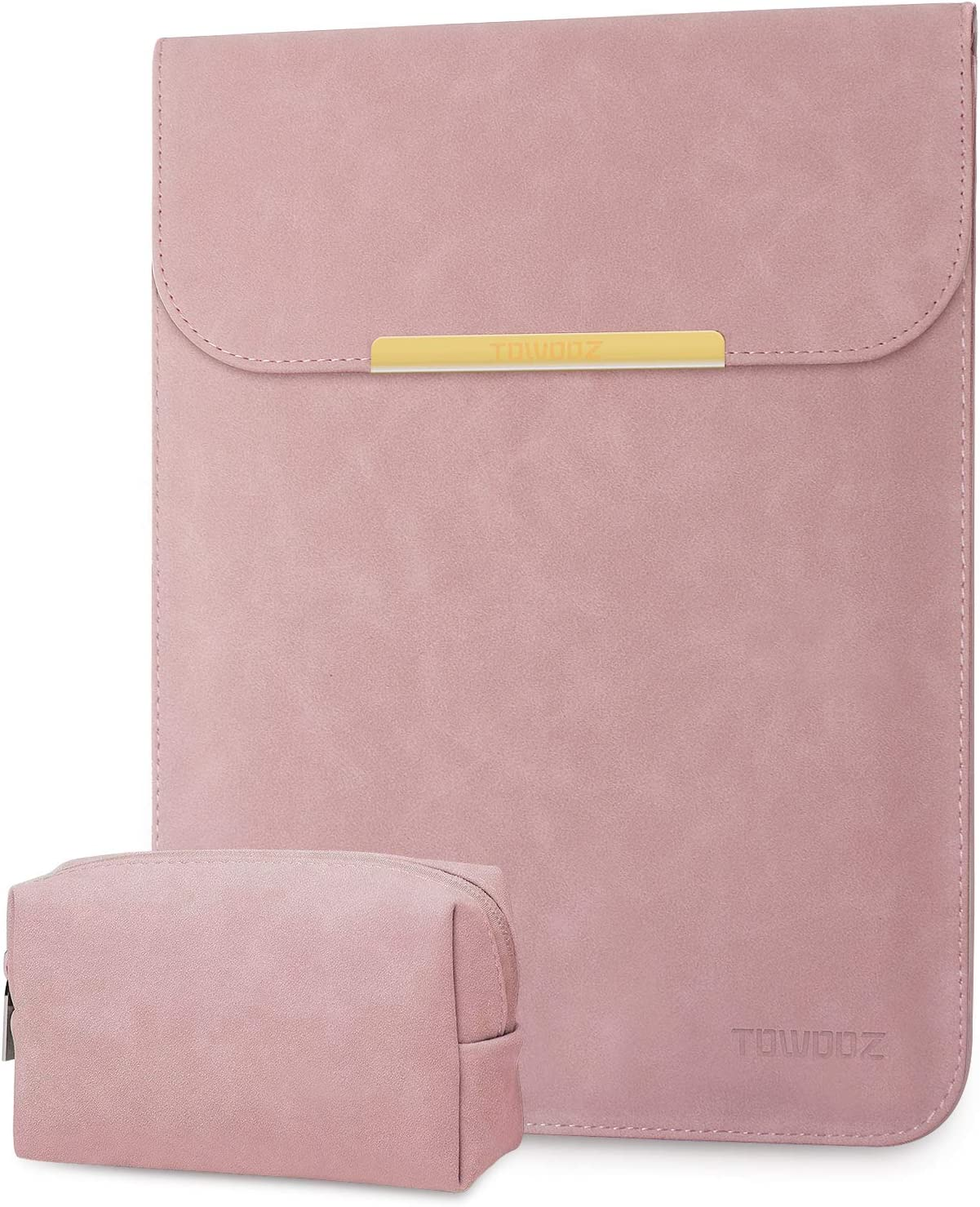 TOWOOZ Laptop Sleeve Case Compatible with MacBook Pro/MacBook Air/iPad Pro 12.9 / Dell XPS 13/ Surface Pro X (13-13.5, Pink)