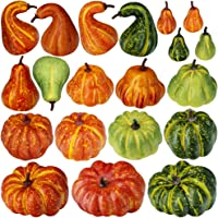 20 Pcs Mini Artificial Autumn Gourds, Pumpkins Assorted Fake Foam Pumpkins Mini Small Pumpkins Bulk Fall Party Table Fireplace Decor Wreath Craft Harvest Halloween Pumpkins Thanksgiving Centerpieces
