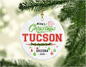 Christmas Decorations Tree Ornament - Gifts Hometown State - Merry Christmas Tucson Arizona 2020 - Gift for Family Rustic 1St Xmas Tree in Our New Home 3 Inches White